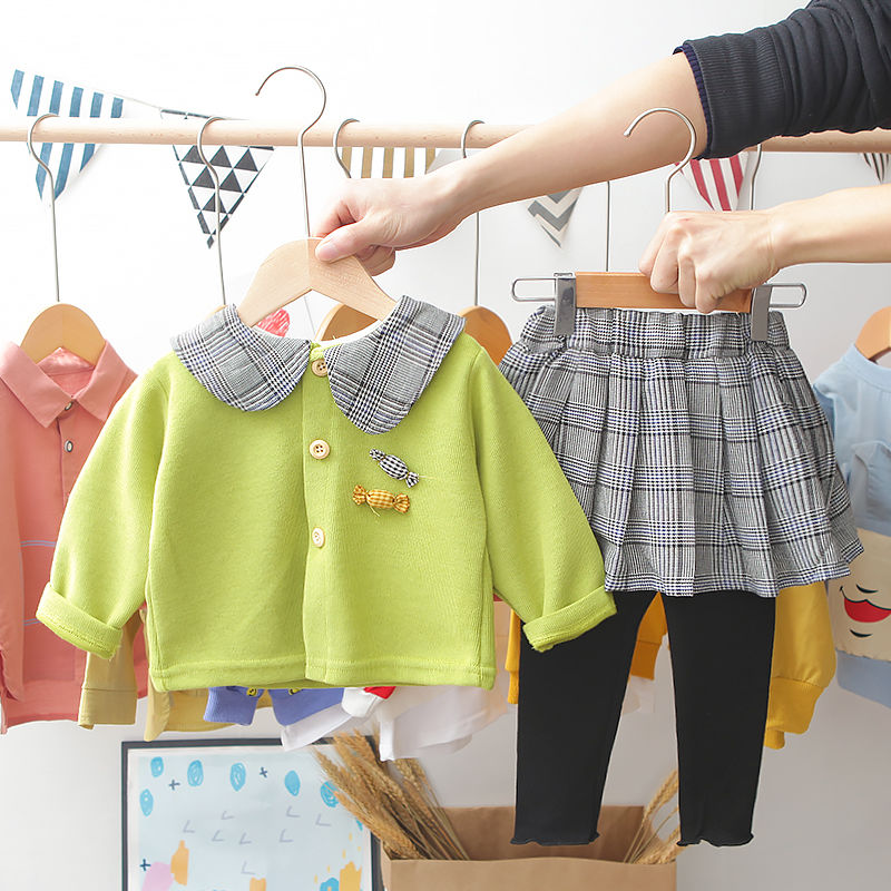 2020 Baby Girl Fashion Clothing Set Cute Bow Sweaters+plaid Dress,girls Infant Elegant Clothes Sets Children Party Birthday Wear 20