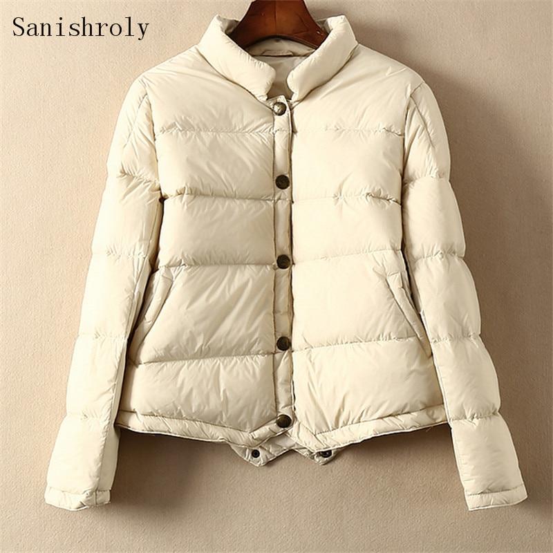 Sanishroly Autumn Winter Women Ultra Light White Duck   Down   Jacket Female Long Sleeve Short   Down     Coat   Parka Tops Plus Size SE752