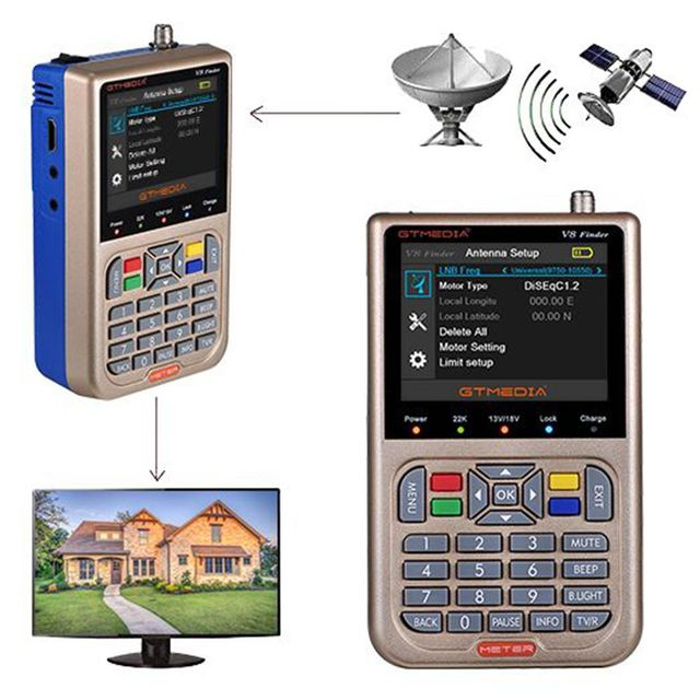 GTMEDIA V8 Finder Digital Satellite Finder HD 1080P Sat Finder DVB S2 S2X LNBลัดวงจรป้องกันFinder satfinder