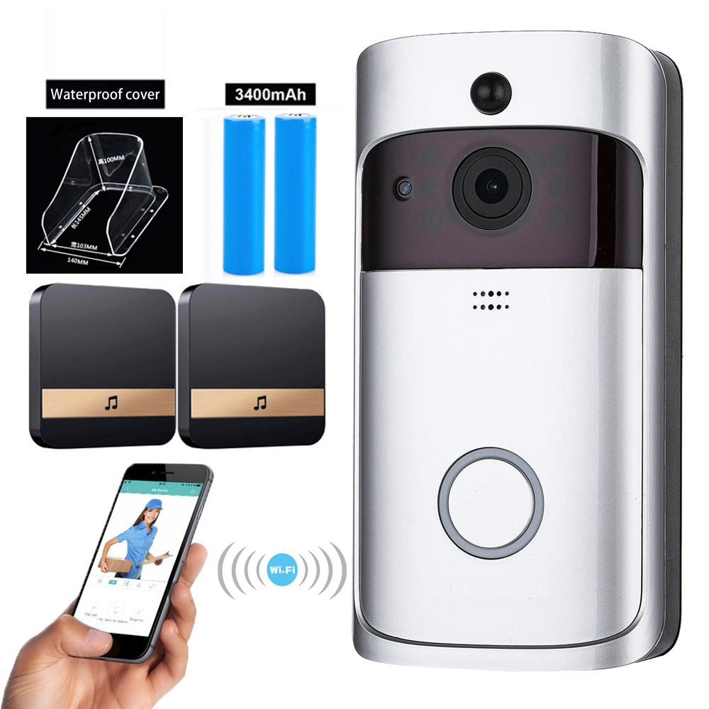 UK IT Smart WiFi Door Bell Camera HD Video Wireless CCTV With Batteries Chime
