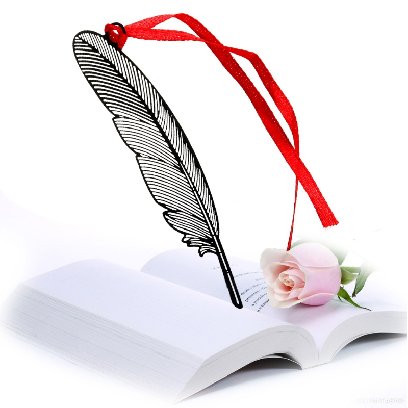Elegant Feather Metal Book Marks Magazine Label Office School Gift Bookmarks New LX9A