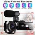 4k transmissão ao vivo da câmera de vídeo digital camcorder lente capa câmera wifi visão noturna vlogging câmera digital filmadora fotografia