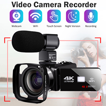 4K Video Camera Live Stream Digital Camcorder Lens Hood WiFi