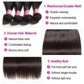 KLAIYI HAIR Malaysian Straight Hair Bundles With Closure 100% Human Hair Extension 3 Bundles With Closure Remy Hair FreeShipping 5