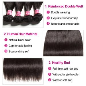 Image 5 - Klaiyi髪マレーシアストレートヘアの束で100% 人毛エクステンション3バンドルと閉鎖remy毛をfreeshipping