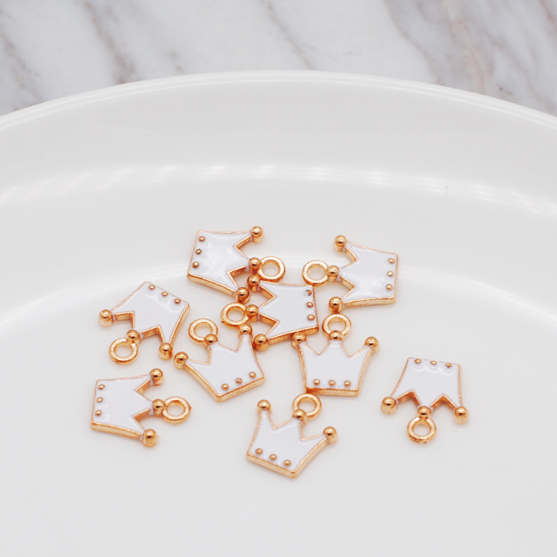 30pcs/pack 11*12mm Gold Color Tone Charm Pendants Alloy Metal Enamel Charms For DIY Jewelry Making 4