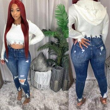 Ladies Mid-Rise Distressed Jeans