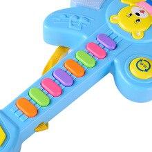Многофункциональный Детский музыкальный инструмент сияющая игрушка для девочек Кнопка электрогитара электронная клавиатура