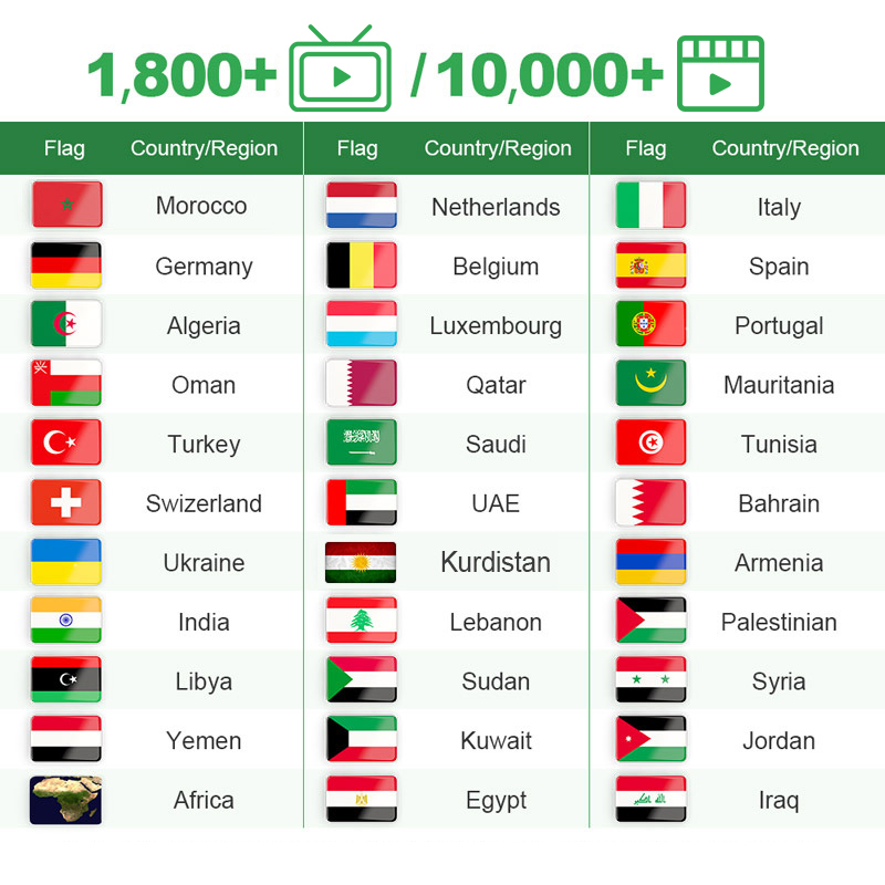 IPTV Arabic Algeria <font><b>Belgium</b></font> Dutch 1 Year IPTV Germany Morocco Smart IPTV M3u Netherlands IP TV QHDTV No App Include image