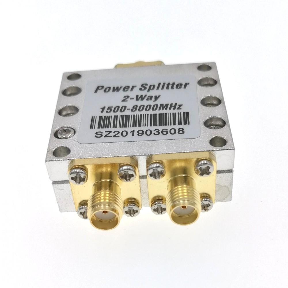 Power Divider 1500~8000Mhz 2 Way RF Power Splitter Combiner W/SMA Female Connector High Frequency 1.5-8Ghz