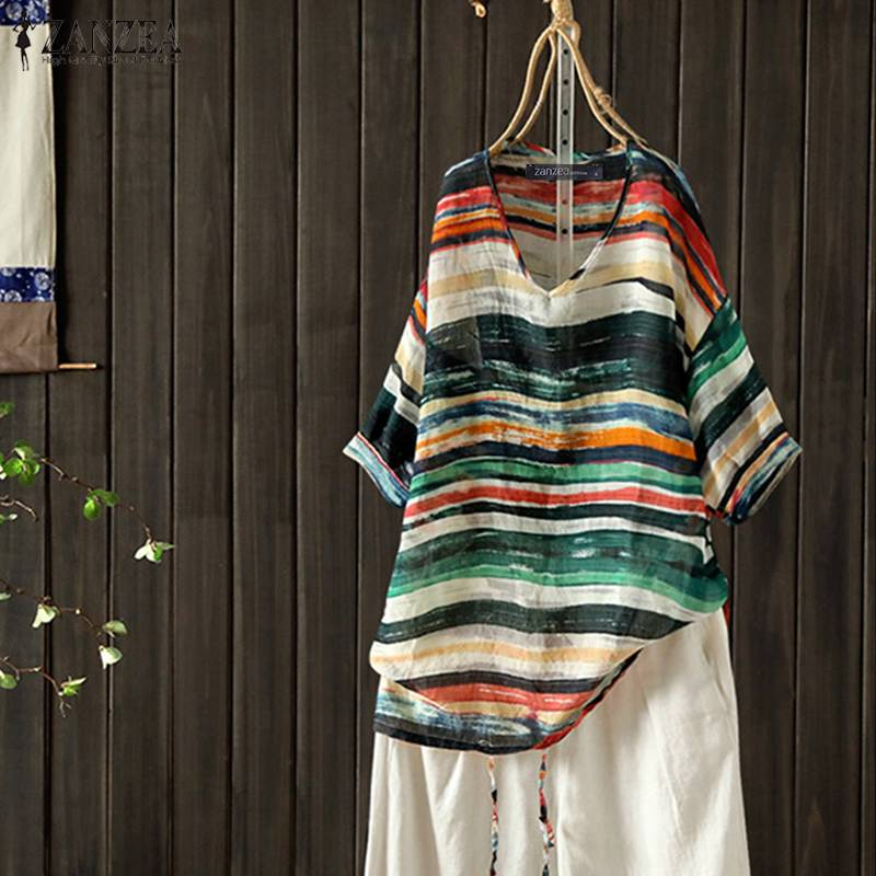 ZANZEA Summer Women V Neck 3/4 Sleeve Striped Blouse Vintage Shirt Casual Loose Party Blusas Femininas Chemise Blouse Mujer Tops