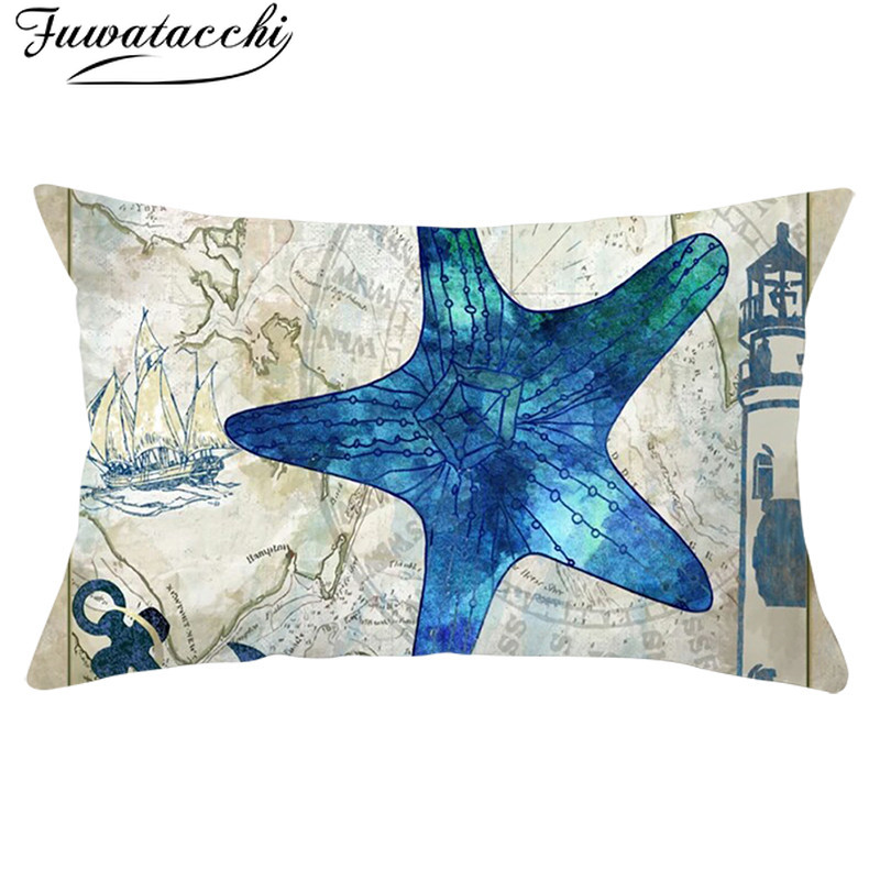 Fuwatacchi Ocean Animals Fish Life Cushion Cover Blue Seahorse Pillows Covers Rectangle Throw Pillowcase Room Home Decor 30*50cm