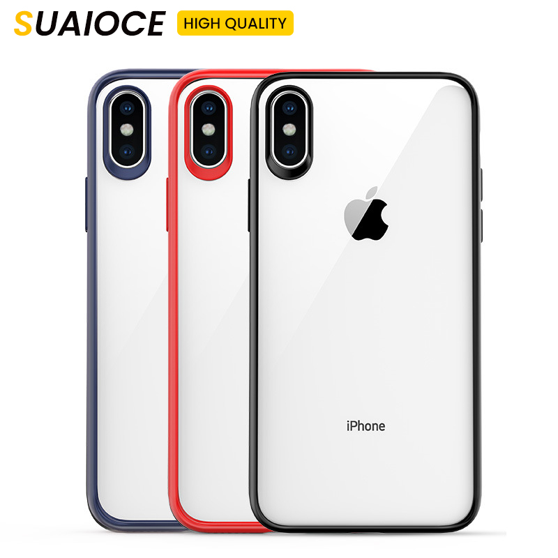 Phone-Case Shockproof SUAIOCE Back-Cover Transparent 7 For Apple X XS Max XR Soft TPU