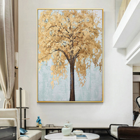 100% Hand Painted Abstract Golden Tree Painting On Canvas Wall Art Frameless Picture Decoration For Live Room Home Decor Gift