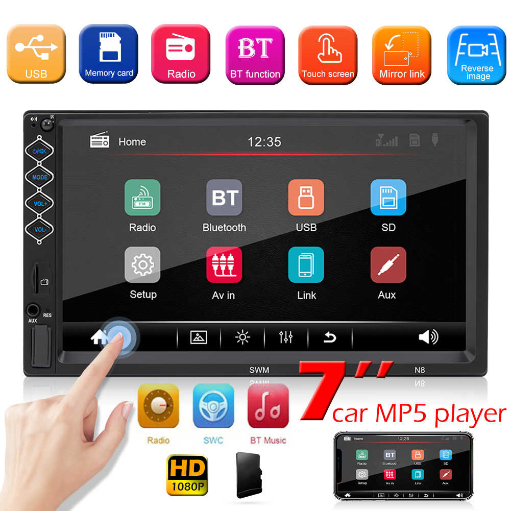 Auto Dubbel Din MP5 Speler 7Inch Hd Touch Screen Auto Stereo Bluetooth Fm Radio Digitale Media Ontvanger Ondersteuning Multi-Lingual