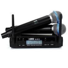 GLXD4 двойной канал частоты UHF Беспроводная микрофонная система 2 ручной микрофон BETA58A BETA 58A микро для KTV речевой караоке домашние Вечерние