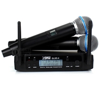 GLXD4 Dual Channel UHF Wireless Microphone System 2 Handheld Mic BETA58A BETA 58A Micro For KTV Speech Karaoke Home Family Party