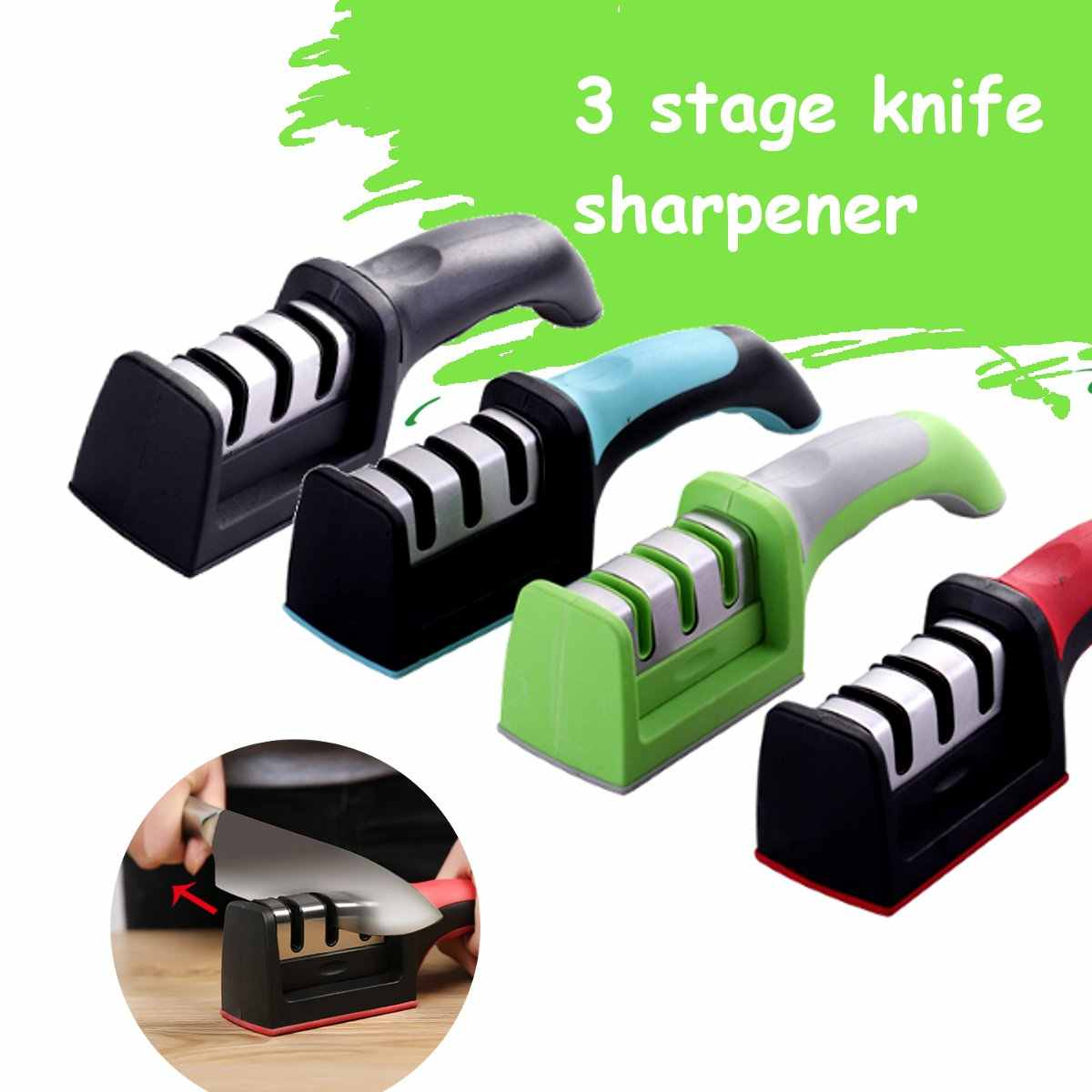 Manual Knife Sharpener 3 Stage Steel alloy tungsten steel Ceramic Knife Sharpener Kitchen Sharpening Tools