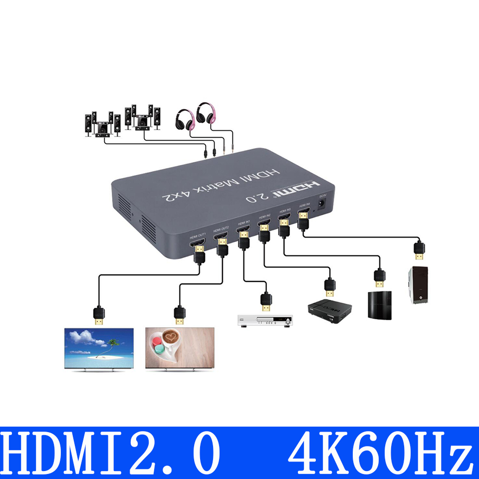 HDMI 2.0 Matrix 4x2 Scaler 4K 60Hz HDMI Switch Splitter Matrix support audio independent out by Optical or Stereo LPCM/Dolby/DTS