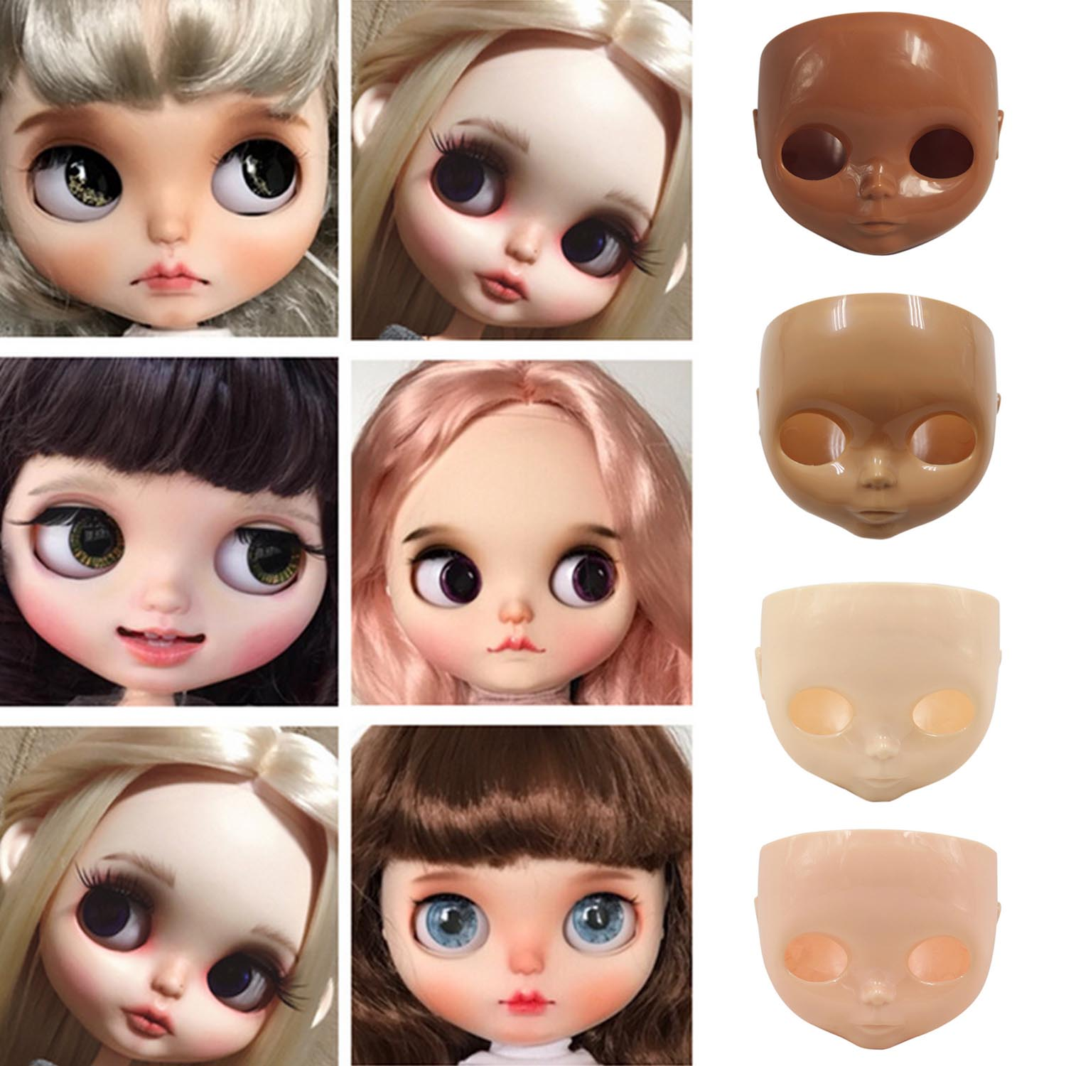 Besegad 1:6 Fashion Dolls Face Plate Doll Faceplate + Backplate Head + Screws For Blyth Dolls DIY Changing Face Accessories Toys