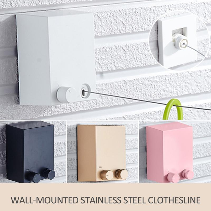 Wall Hanging Invisible Clothesline Balcony Indoor Laundry Dryer Rope Telescopic Stainless Steel String Hanging Clothes Rope