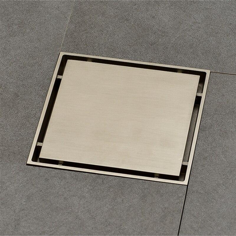 New 15*15cm  Brass Shower Drain Bathroom Floor Drain Tile Insert Square Anti-odor Floor Waste Grates