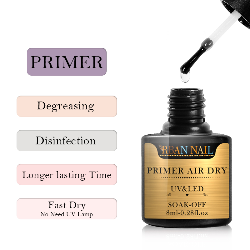 RBAN NAIL 8ml Long Lasting Fast Air Dry Primer No Need Of UV LED Lamp Fast Air Dry Gel Polish Top Coat Nail Art Lacquer