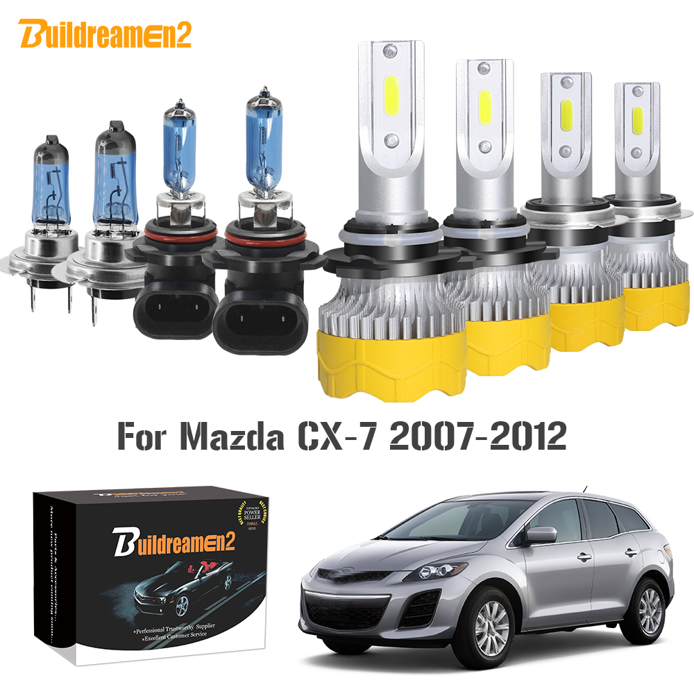 Buildreamen2 4 X Car Headlight High Low Beam <font><b>LED</b></font> Halogen Headlamp Light 12V For <font><b>Mazda</b></font> CX-7 <font><b>CX7</b></font> 2007 2008 2009 2010 2011 2012 image
