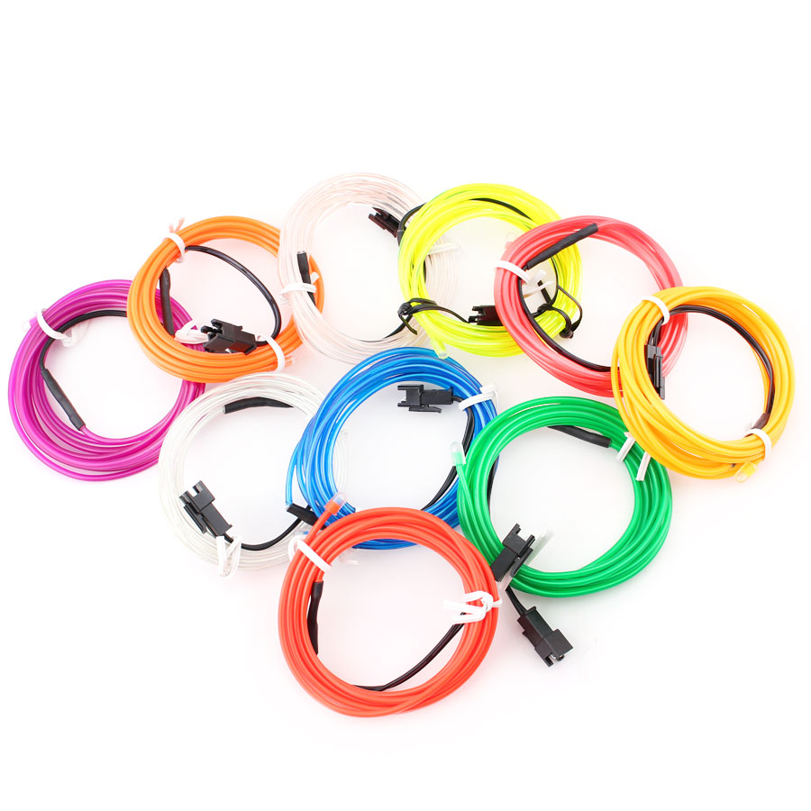 12V <font><b>EL</b></font> Wire LED Neon light 1M 2M 3M 5M NeonLight Lamp Flexible Rope Tube rope Party Decor <font><b>Car</b></font> novelty Decoration With <font><b>Controller</b></font> image