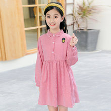Long Sleeve Striped Blouse Dress For Girls 5 7 9 11 13 Years Kids Dresses for Girls Autumn School Pineapple Clothes Pink Color kids dresses for girls sweaters 2017 new autumn cotton sweater dress for girls clothing school kids clothes 10 11 12 13 14 years