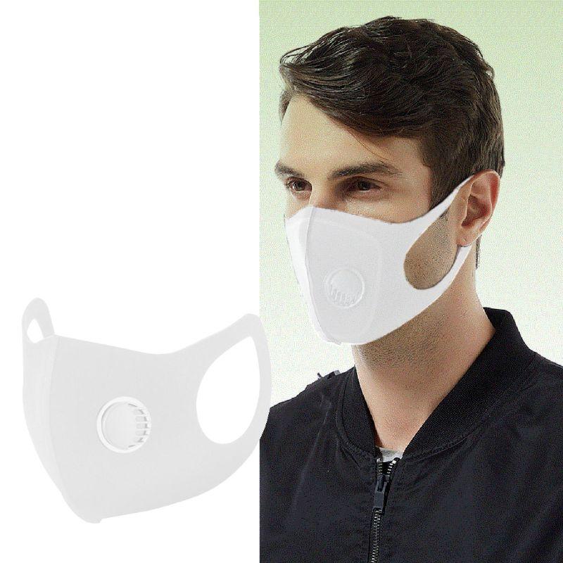 5Pcs Washable Reusable Mouth Cover Mask Dust-Proof Breathing Valve Face Mask Elastic Skin-Friendly Unisex White Mask