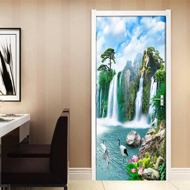 Фото 3d наклейка на дверь водопад настенная живопись для гостиной