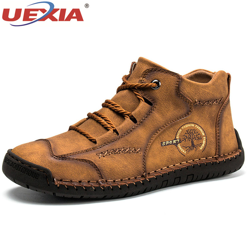 2020 Fashion Spring Autumn Leather Men Boots Handmade Top Quality Platform Luxury Brand Italian Casual Outdoor Shoes Footwear