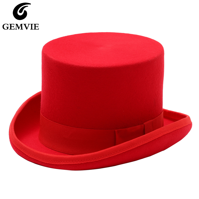 GEMVIE 13cm 100% Wool Felt Red Top Hat Cylinder Hat for Men Women Topper Mad Hatter Party Costume Fedora Derby Magician Hat