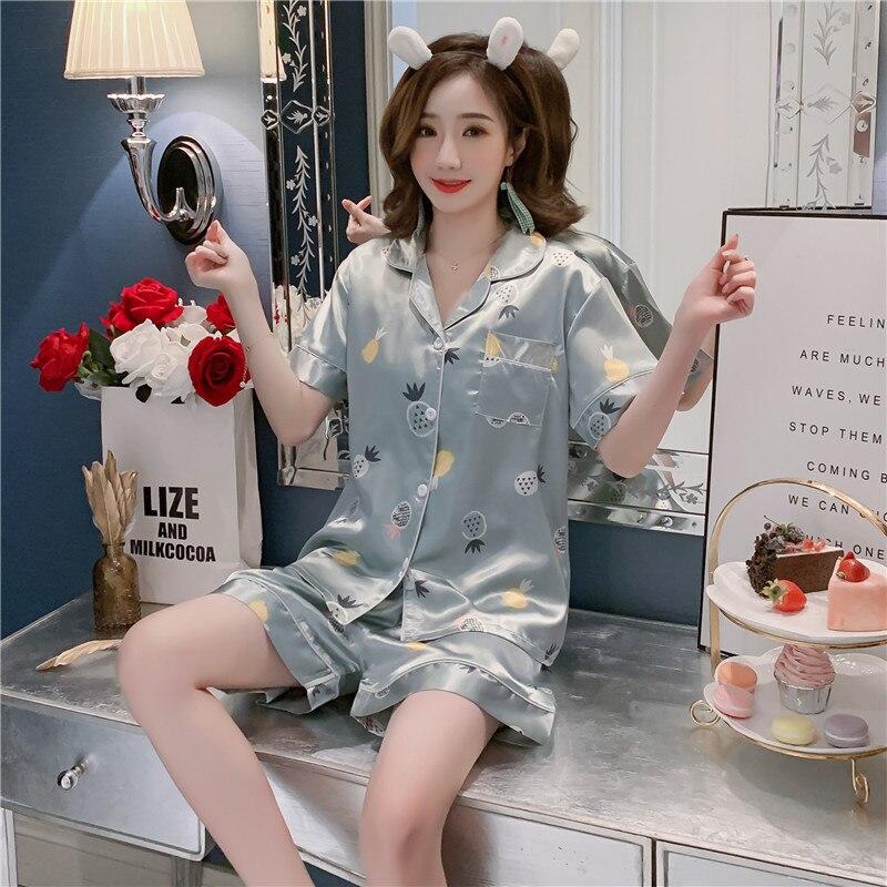 2019 Summer New Style Imitated Silk Pajamas WOMEN'S Short Sleeved Shorts Cardigan Homewear Set 351 # M -Xxl