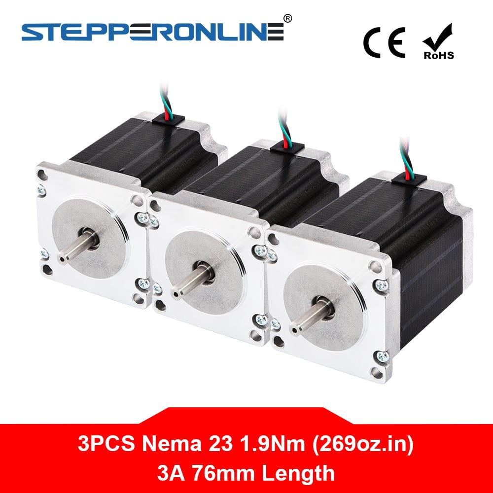 3PC Nema 23 Stepper Motor 57 Motor 1 9Nm 269oz in 3A 76mm Nema23 Step Motor