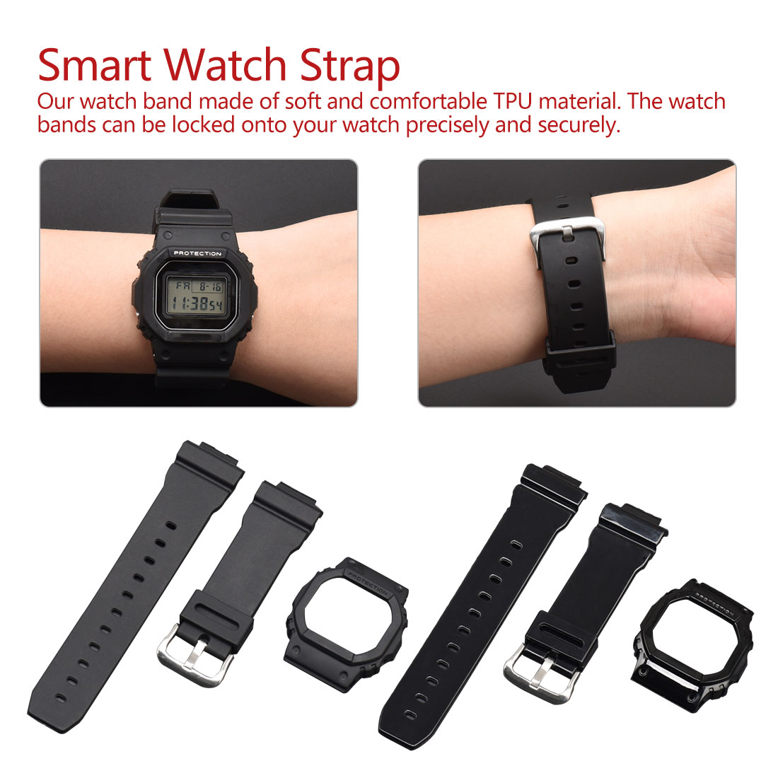 Replacement Band Bracelet Strap Accessories Watch Band Case For Casio G-Shock DW-5600 Black Watch Tpu Strap Sports Strap