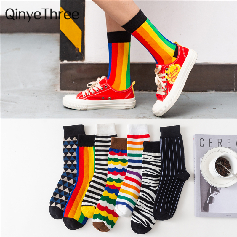 Dropship Happy Socks Funny Art Dress Socks Color Lot Men's Summer Fashion Socks Rainbow Set Print Colorful Stripes Art Socks
