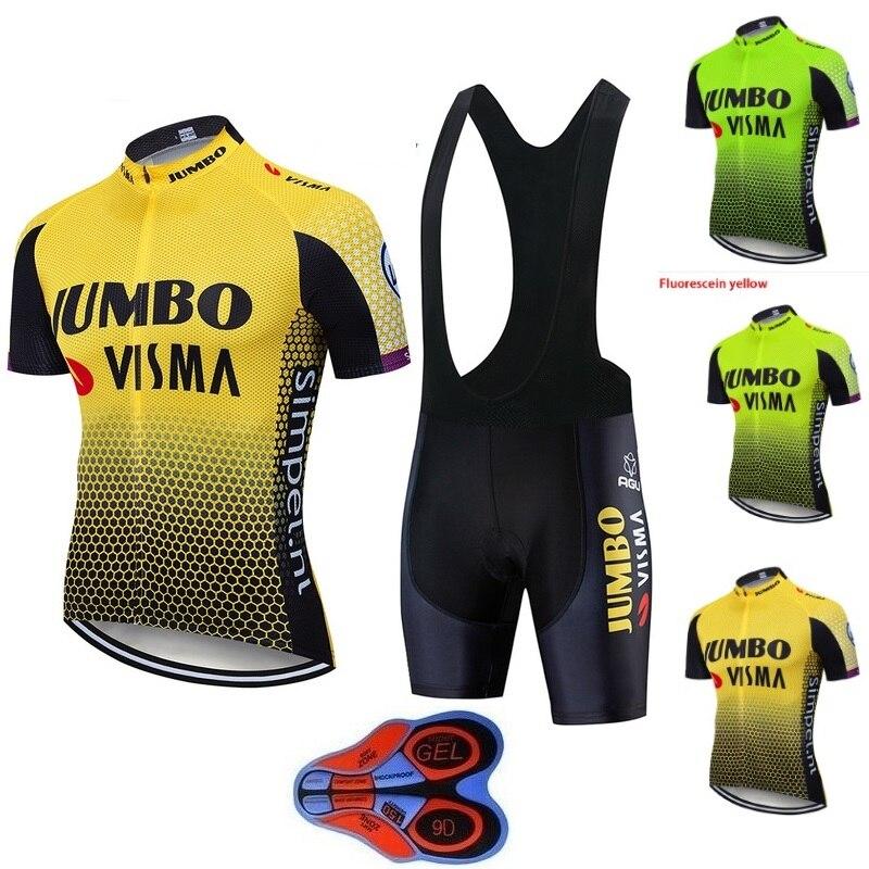 2019 pro equipe jumbo visma conjunto camisa de ciclismo dos homens bicicleta maillot mtb corrida ropa ciclismo verão secagem rápida pano 9d gel