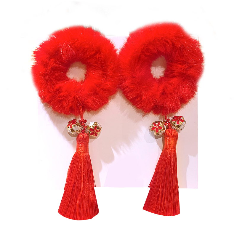 CXD-Chinese Style Plush Fringed Hair Ring, Children\'s New Year Hair Ornament, Girl\'s New Year\'s Clothing Headdress, Red Pair