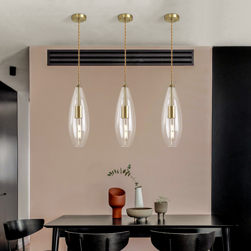 YOOGEE Nordic Modern Glass Pendant Lights for Dining Room Kitchen Island  Hanging Light Fixture LED Lampshade bedside bar lamps
