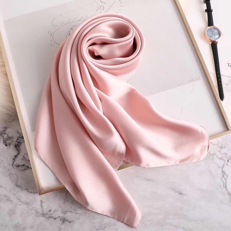 2019 летний роскошный брендовый шелковый шарф квадратные женские шали и палантины модные солидные офисные маленькие волосы на шее хиджабы платки