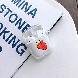 Image 3 - Per Airpods 1 2 Trasparente Molle Del Silicone del Trasduttore Auricolare Per Il Caso di AirPods Simpatico Cartone Animato Frutto di Avocado Pesca di Protezione Della Copertura di Bluetooth