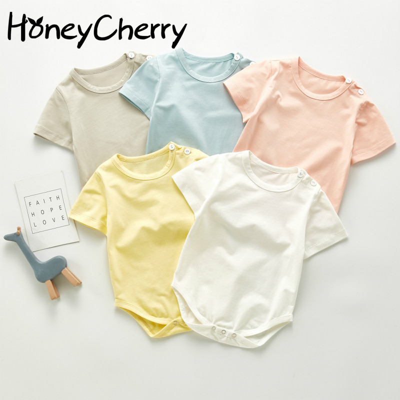 Summer Baby Bodysuit Baby Simple And Comfortable Monochrome Cotton Short Sleeve Hardcover Creeper Bodysuit