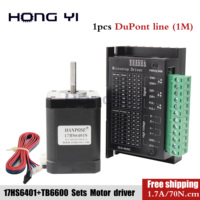 Free shipping 17HS6401s 4 lead 42BYGH 1.7A 70N.cm Nema 17 Stepper Motor driver TB6600 42 motor CE CNC Laser and 3D printer motor