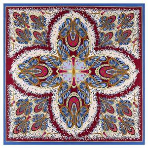 Image 2 - 2020 ビッグスクエアシルクレディース高級ブランドツイルスカーフショール蝶プリント卸売 130*130 センチメートル冬のスカーフの女性