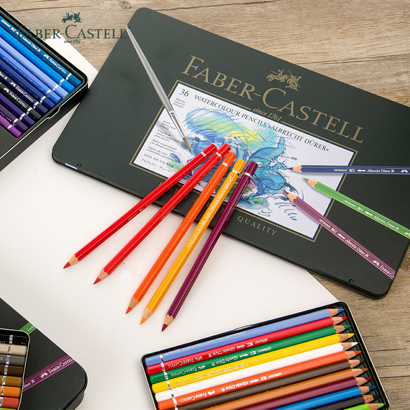 Faber-Castell  Green Iron Box Water Color Pencils 12/24/36/60/120 Colour Optional Professional Drawing Pencil  Artist Art Set