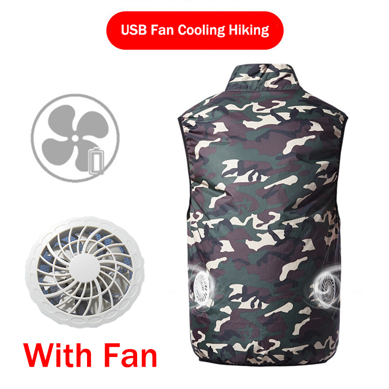 Summer High Temperature USB Fan Cooling Hiking Vest Fishing Cycling Vest Air Conditioning Work Outdoors Quick Cooling Men/Women