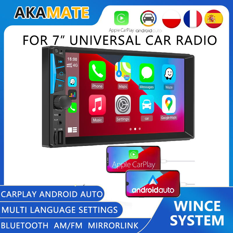 2 Din Universal 7'' Car Radio Android Auto Carplay Mirrorlink MP5 Player MP3 Player Bluetooth FM/AM Touch Screen For Car Stereo