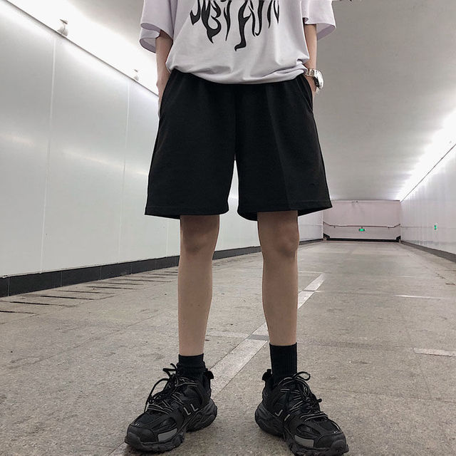 2020 Women Five Pointed Shorts Solid Black Grey Wide short Pants Unisex Students Casual Oversized Streetwear Hip Hop Punk Style 5